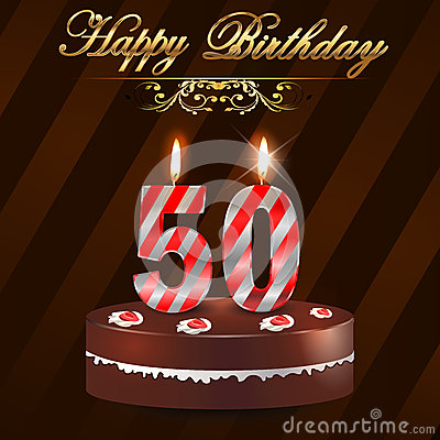 50 Year Happy Birthday Card With Cake And Candles 50th
