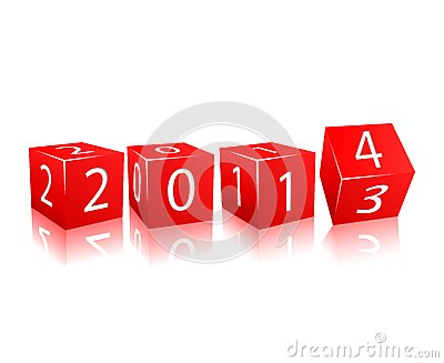 2014 year numbers on red cubes