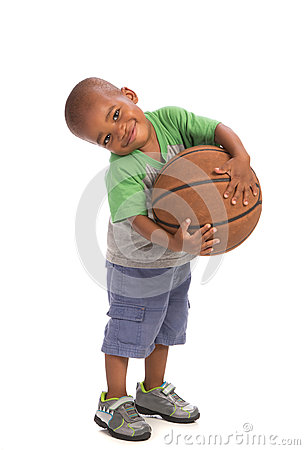 2 Year Old Baby Boy Standing Holding A Basket Ball Royalty