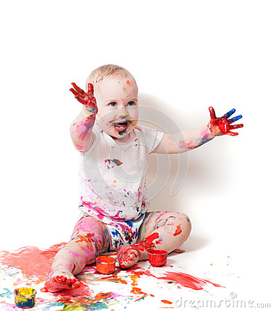 Free Year-old Child With Paint Royalty Free Stock Photos - 28495628