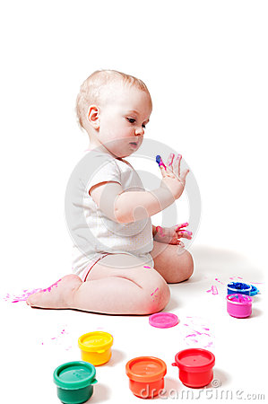 Free Year-old Girl With Paint Royalty Free Stock Photo - 28495605