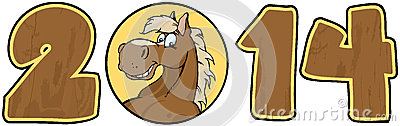 2014 Year Wood Numbers With Horse Face Over A Circ