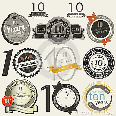 10 years anniversary signs and cards  design