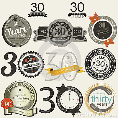 30 years anniversary signs and cards  design