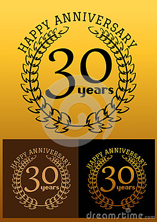 30 years anniversary signs with laurel wreaths