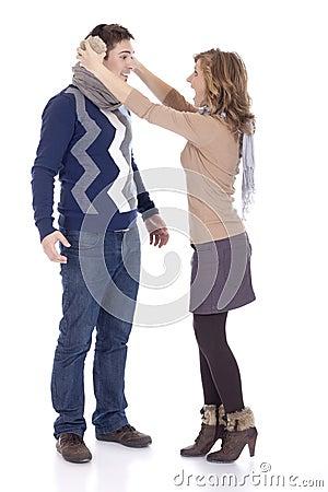 Yelling at her boyfriend