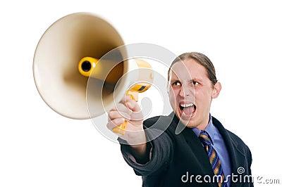 Yelling through megaphone