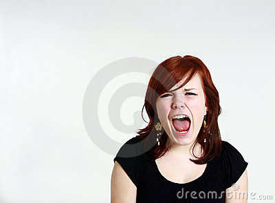 Yelling redhead teen girl