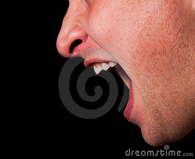 Yelling woman mouth closeup