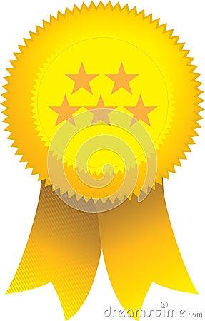 Yellow 5 star ribbon seal