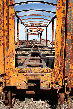 Yellow abandoned train at Uyuni, Bolivia