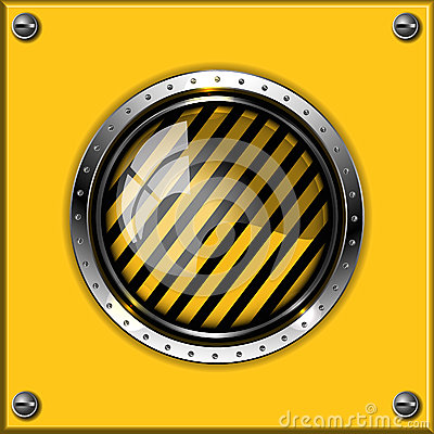 Yellow abstract metallic background with round glo