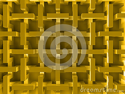 Yellow abstract prism structure
