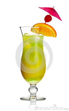 Yellow alcohol cocktail with orange slice
