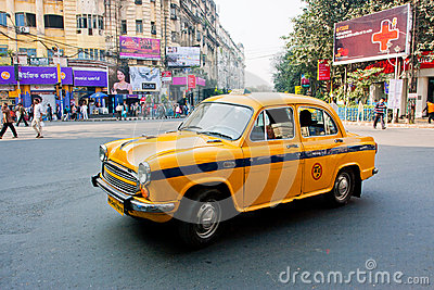 Yellow Ambassador taxi car in Kolkata Editorial Stock Photo