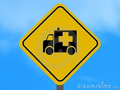Yellow ambulance traffic sign
