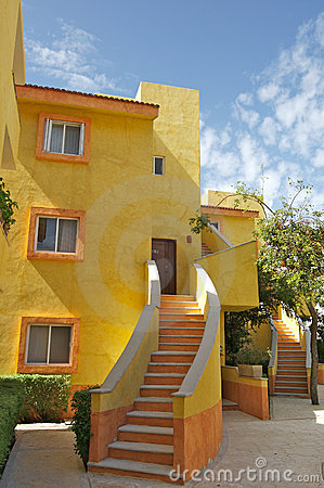 Yellow apartment building