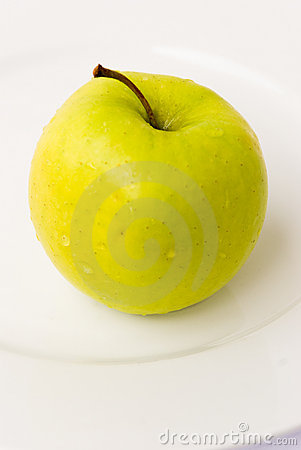Yellow apple-close up-on the p