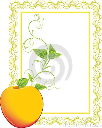 Yellow apple with sprig in the decorative frame