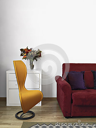 Yellow armchair in a  modern livig room