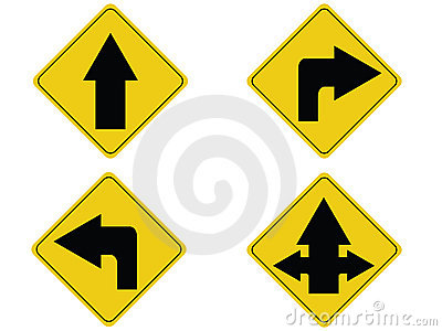 Yellow arrow traffic sign