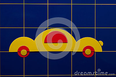 Yellow art  illustration of car on blue background