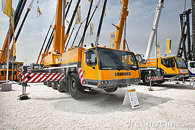 Yellow auto crane Editorial Photography