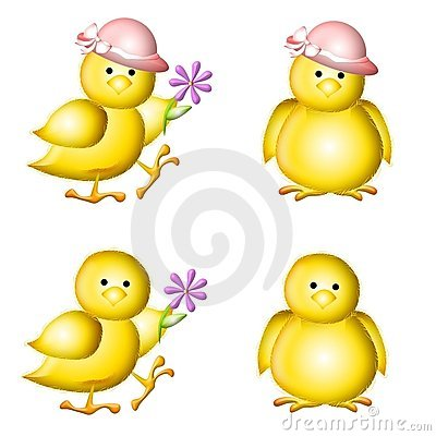 Yellow Baby Easter Chicks Clip Art