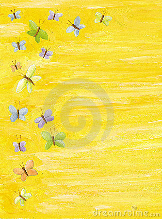 Yellow background with colorful butterflies
