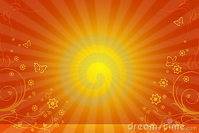 Yellow background with the sun and flower ornament