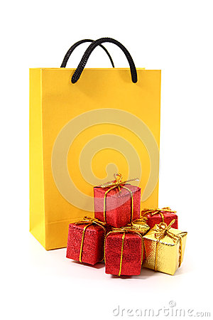 Yellow bag and gifts