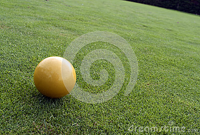 Yellow ball on the golf course