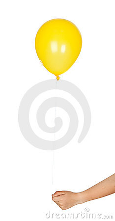 Yellow balloon inflated