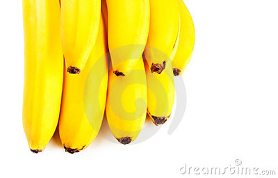Yellow bananas closeup