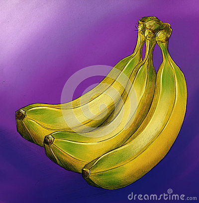 Yellow bananas on violet background