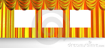 Yellow beautiful curtains with places
