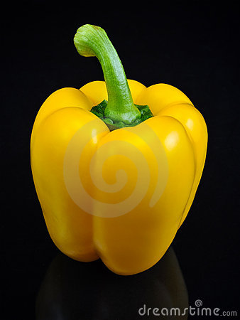 Yellow Bell Pepper Vegetable on Black Background