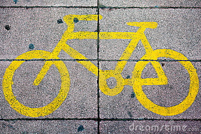 Yellow Bike Lane Sign