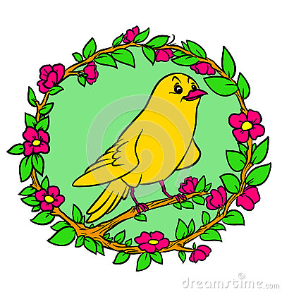 Yellow Bird canary garland plants flowers