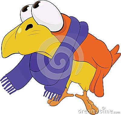 Yellow bird, in a scarf. Cartoon Vector Illustration