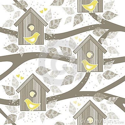 Free Yellow Birds For Bird Boxes On Trees Stock Image - 30369681