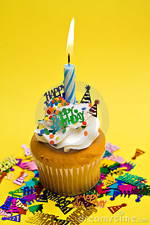 Yellow Birthday Cupcake