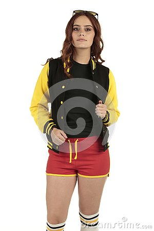 Free Yellow Black And Red Colored Retro Sports Wear With An Empty Space On The Black Shirt For You To Add Your Brand Royalty Free Stock Images - 130756919