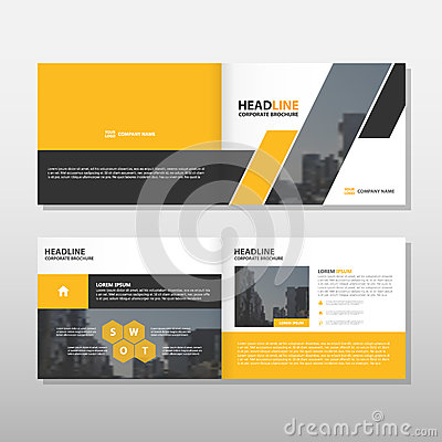 Free Yellow Black Annual Report Leaflet Brochure Flyer Template Design, Book Cover Layout Design, Abstract Business Presentation Stock Photos - 73224843