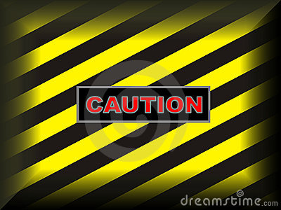Yellow on black caution sign