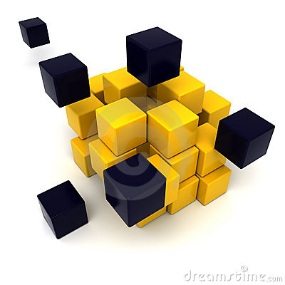Yellow and black cubic background