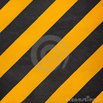 Yellow and black diagonal stripe warning