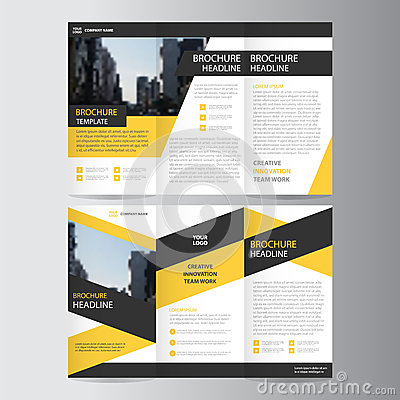 Free Yellow Black Trifold Leaflet Brochure Flyer Template Design, Book Cover Layout Design Royalty Free Stock Photos - 70881708