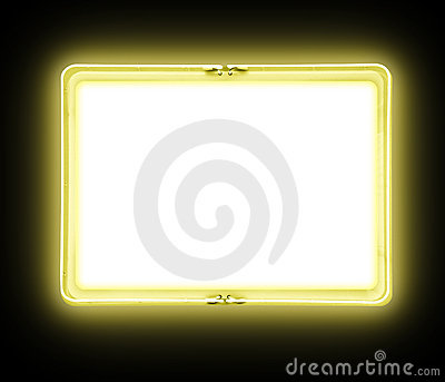 Yellow Blank Neon Sign Glowing