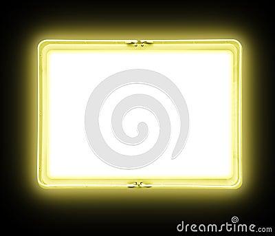 Yellow Blank Neon Sign Glowing